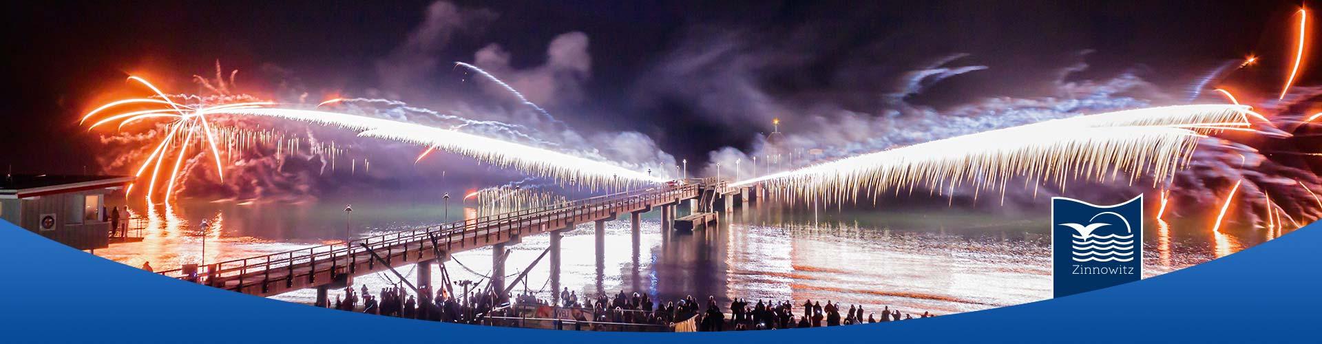 Seebrücke Ostseebad Zinnowitz Feuerwerk
